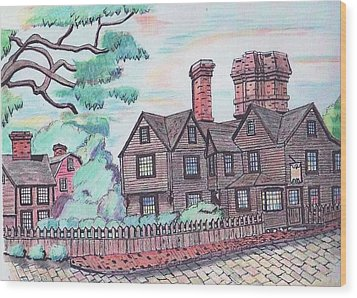 House Of Seven Gables Wood Print by Paul Meinerth