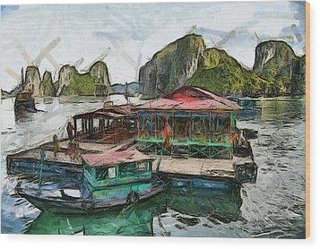 House On The Sea Wood Print by Teara Na