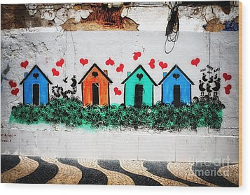 House On The Wall Wood Print by John Rizzuto
