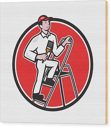 House Painter Paintbrush On Ladder Cartoon Wood Print by Aloysius Patrimonio