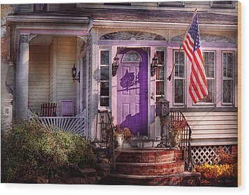 House - Porch - Cranford Nj - Lovely In Lavender  Wood Print by Mike Savad