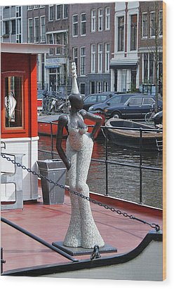 Wood Print featuring the photograph Houseboat Chanteuse by Allen Beatty
