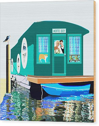 Houseboat Wood Print by Marian Cates