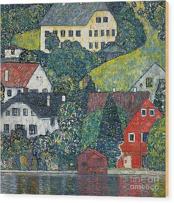 Houses At Unterach On The Attersee Wood Print by Gustav Klimt