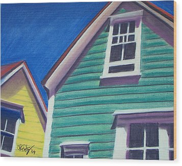Houses Green And Yellow Wood Print