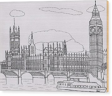 Houses Of Parliament Wood Print by Bav Patel