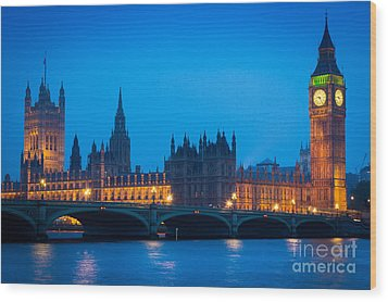 Houses Of Parliament Wood Print by Inge Johnsson