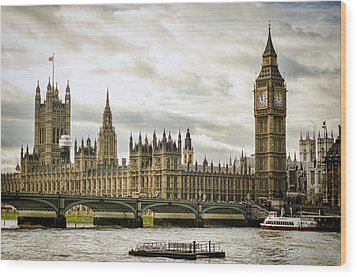 Houses Of Parliament On The Thames Wood Print by Heather Applegate