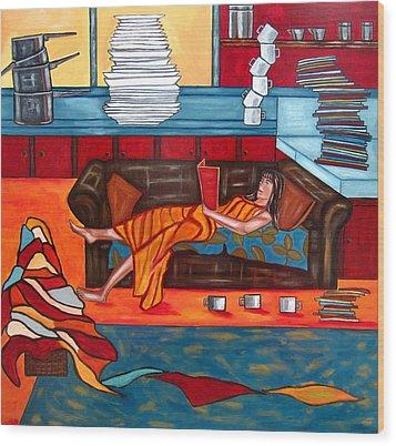Housework Wood Print by Sandra Marie Adams