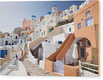 Housing Of Santorini Wood Print by Aiolos Greek Collections