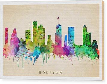Houston Cityscape Wood Print