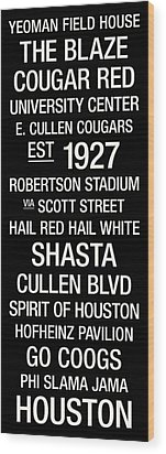 Houston College Town Wall Art Wood Print by Replay Photos