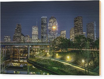 Houston On The Bayou Wood Print