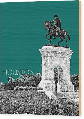 Houston Sam Houston Monument - Sea Green Wood Print by DB Artist