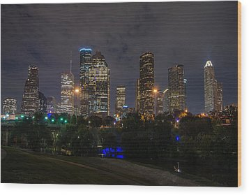 Houston Skyline At Night Wood Print