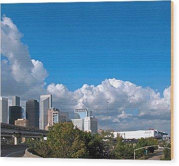 Houston Skyline Southeast Wood Print by Connie Fox