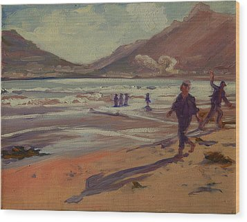 Wood Print featuring the painting Hout Bay Beach Sunset by Thomas Bertram POOLE