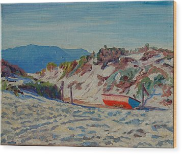 Wood Print featuring the painting Hout Bay Beach With Table Mountain by Thomas Bertram POOLE