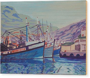 Wood Print featuring the painting Hout Bay Fishing Boats by Thomas Bertram POOLE