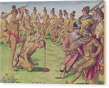 How A Sentry Was Treated For Negligence Wood Print by Jacques Le Moyne