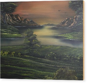 How Green Is My Valley Wood Print by Cynthia Adams