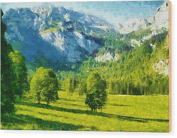 How Green Was My Valley Wood Print by Ayse and Deniz
