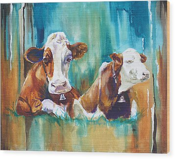 How Now Brown Cow Wood Print by P Maure Bausch