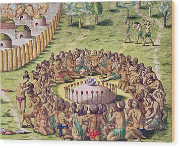 How The Chief Is Buried Wood Print by Jacques Le Moyne