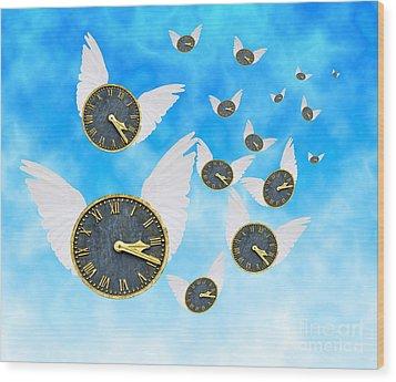 How Time Flies Wood Print by Juli Scalzi