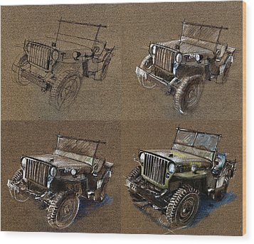 How To Draw A 1943 Willys Jeep Mb Car Wood Print by Daliana Pacuraru