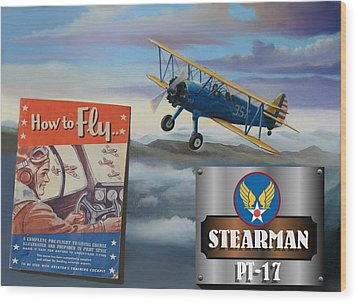 How To Fly Stearman Pt-17 Wood Print