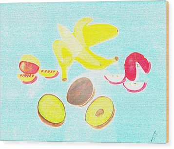Wood Print featuring the painting How To Peel Cut And Slice by Lorna Maza