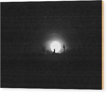 Howling At The Moon Wood Print