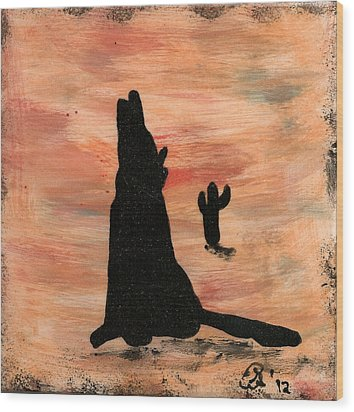 Howling At The Moon Wood Print by Gail Schmiedlin
