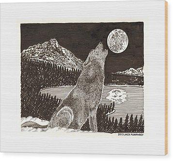 Howling Coyote Full Moon Ho0wling Wood Print by Jack Pumphrey