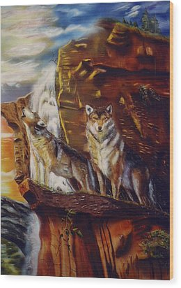 Wood Print featuring the painting Howling For The Nightlife  by Thomas J Herring