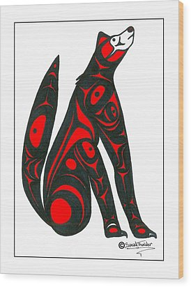 Howling Wolf Color Wood Print by Speakthunder Berry