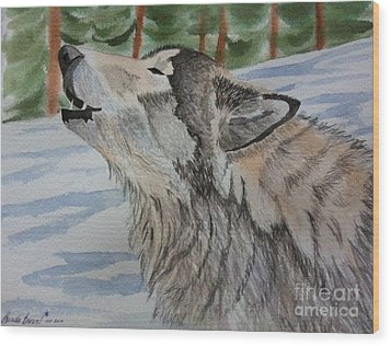 Howling Wolf In Winter Wood Print