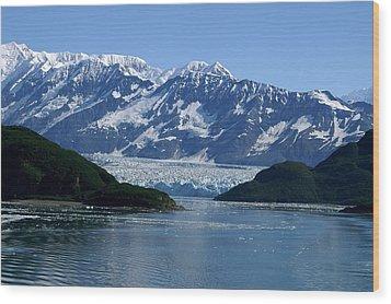 Hubbard Glacier Wood Print by Barbara Stellwagen