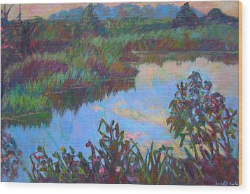 Huckleberry Line Trail Rain Pond Wood Print by Kendall Kessler