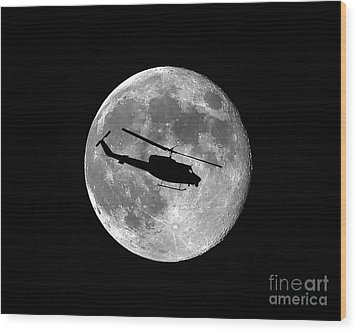 Huey Moon Wood Print