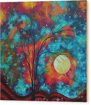 Huge Colorful Abstract Landscape Art Circles Tree Original Painting Delightful By Madart Wood Print by Megan Duncanson