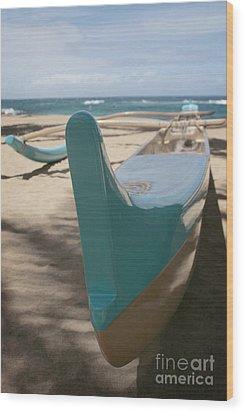 hui o waa Kuau Outrigger Canoe Paia Wood Print by Sharon Mau
