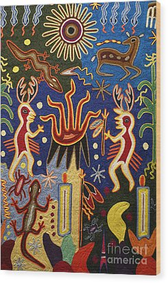 Huichol Yarn Painting Mexico Wood Print