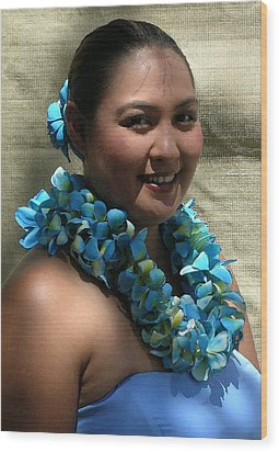 Hula Blue Wood Print by James Temple