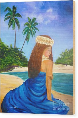 Wood Print featuring the painting Hula Girl On The Beach by Jenny Lee