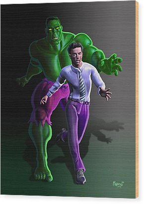 Wood Print featuring the painting Hulk - Bruce Alter Ego by Anthony Mwangi