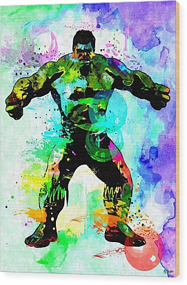 Hulk Watercolor Wood Print