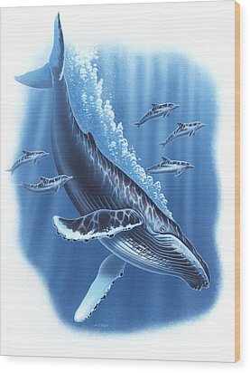 Humback And Dolphins Wood Print by JQ Licensing