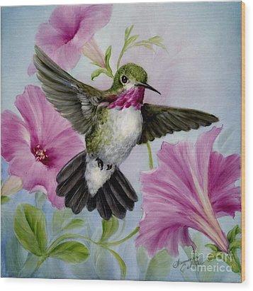 Hummer In Petunias Wood Print by Summer Celeste